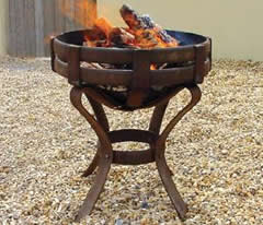 iron fire pit round high stand